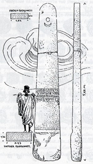 Hawulti (monument) - 1913 sketch by the Deutsche Aksum-Expedition of Hawulti, a pre-Aksumite or early Aksumite stela at Matara.