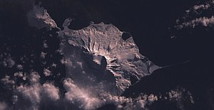Satellite image of Mawson Peak on Heard Island.
