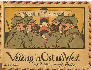 History of Germany during World War I - In this contemporary drawing by Heinrich Zille, the German soldiers bound westwards to France and those bound eastwards to Russia smilingly salute each other.