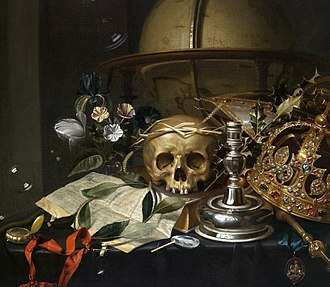 Hendrick Andriessen - Vanitas still life with a globe, sceptre, a skull crowned with straw