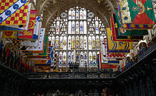A photograph of the Henry VII Lady Chapel of Westminster Abbey, showing the heraldic west window.