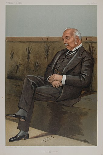 Campbell-Bannerman caricatured by Spy for Vanity Fair, 1899 Henry Campbell-Bannerman Vanity Fair 10 August 1899.jpg