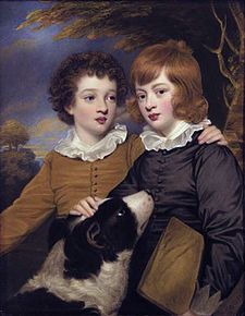 Henry Gawler (1766-1852) and his brother John Bellenden Ker (1765-1842) holding a portfolio, as children with their dog by Henry Bone.jpg
