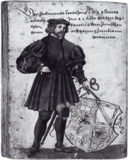 Hernán Cortés, drawing by Christoph Weiditz (1529)
