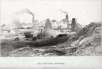 Hetton colliery railway - An original etching of Hetton Colliery showing an early locomotive, circa 1820