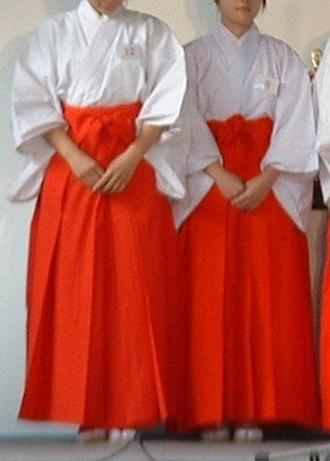 Hakama - Two Miko wearing hakama