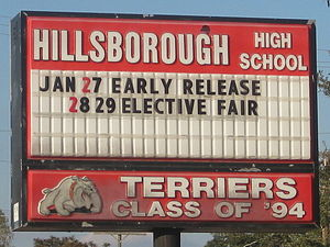 Hillsborough High School (Tampa, Florida) - Sign at southeast corner of campus.