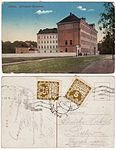 Historical postcard with the building of today's Slovanské gymnázium.jpg