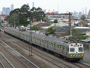 Martin & King - Hitachi suburban train in Middle Footscray in September 2006