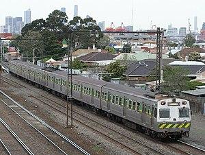 Hitachi (Australian train) - Hitachi in green The Met livery near Middle Footscray