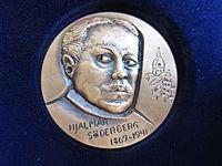 """Hjalmar Söderberg, åtsiden og bagsiden af medalje i serien """"Store Svensk Forfatter"""" udformet i 1978 af Berndt Helleberg."""