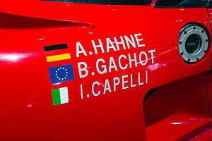 Bertrand Gachot - Gachot's Honda NSX Le Mans GT1 car shows his name with the flag of Europe.