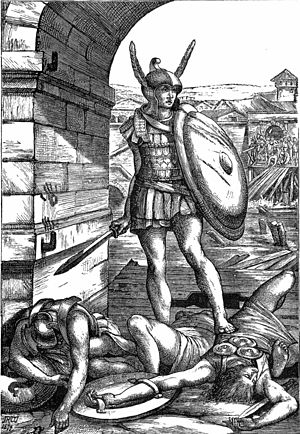 Lays of Ancient Rome - John Reinhard Weguelin, Horatius defending the Sublician bridge, from the 1881 edition.