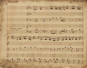 Giovanni Bononcini - First page of manuscript from Astianatte, ca. 1727