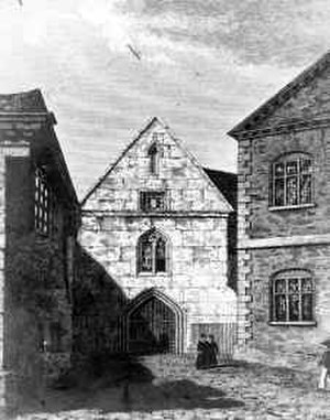 Manchester Grammar School - A drawing of the Chetham's Gatehouse circa 1600.