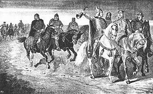 Hrólfr Kraki - Hrólfr Kraki spreading gold to escape the Swedes, by Jenny Nyström (1895).