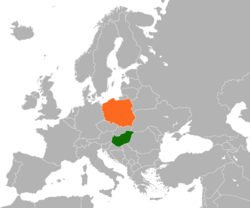 Map indicating locations of Hungary and Poland