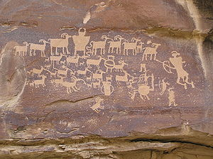 Indigenous peoples of the Great Basin - Fremont culture petroglyphs of big horn sheep, Nine Mile Canyon, Utah