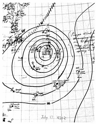 1944 Atlantic hurricane season - Image: Hurricane One analysis 17 Jul 1944 18z