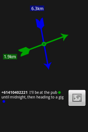GeoSMS - A geotagged SMS as displayed by the I Am Here application.