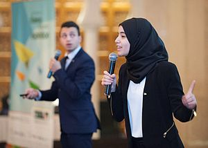 INJAZ Al-Arab - Students presenting during Regional Company Competition in Kuwait