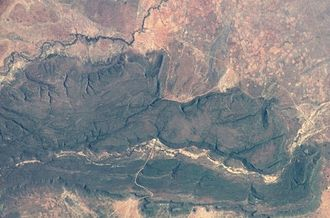 Tswapong Hills - NASA picture of the Tswapong Hills with the Lotsane River flowing along the northern edge