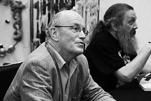 Iain Sinclair - Sinclair and Alan Moore at the Cheltenham Science Festival in 2011
