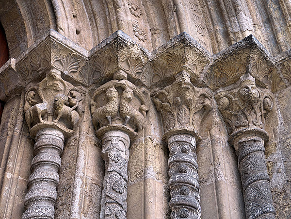 Vegetalist And Animal Intricate Capital Column Carvings In Santiago Church