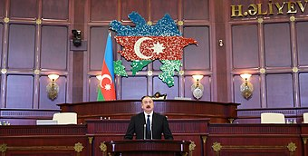 Ilham Aliyev gave a speech at the first session of Azerbaijani Parliament's sixth convention.jpg