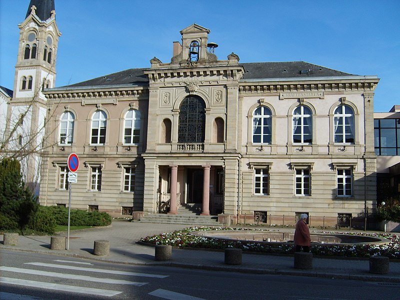 The 19th century Illkirch-Graffenstaden townhall in Alsace, France.