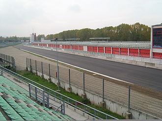 Autodromo Enzo e Dino Ferrari - The new pitbox and start/finish straight, April 2008.