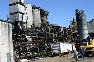 2008 Georgia sugar refinery explosion - The explosion was determined to have occurred in this building and two of the three silos visible behind it.