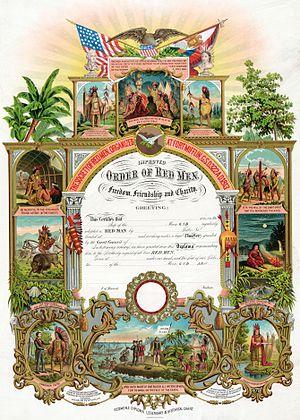 Improved Order of Red Men - Image: Improved Order of Red Men certificate 1889