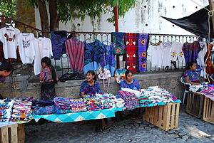 Chiapa de Corzo, Chiapas - Zoque women selling Mayan clothing