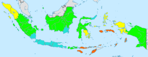 Demographics of Indonesia - Image: Indonesia total fertility rate by province 2010