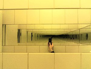 Infinity mirror - An infinity mirror effect viewed between the mirrors