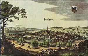 Ingelheim am Rhein - Coloured engraving of Ingelheim, Matthäus Merian, 1645