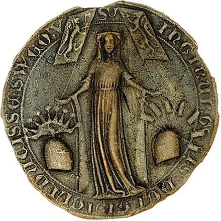 Seal of Duchess Ingeborg; Regent of Norway 1319-1327, Regent of Sweden 1318-1326. Ingiburga of Norway & Sweden seal.jpg