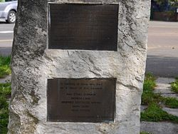 Photo of flying bomb (V1/V2) brass plaque