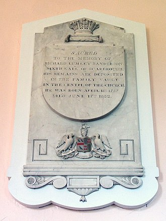 Richard Lumley-Saunderson, 6th Earl of Scarbrough - Memorial, St Helen's Saxby, Lincolnshire