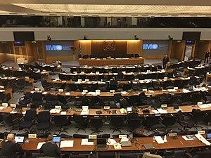 International Maritime Organization - An image of the main hall assembly chamber, where the MSC and MEPC committee's of the International Maritime Organization meet each year.