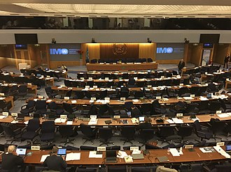 International Maritime Organization - An image of the main hall assembly chamber, where the MSC and MEPC committees of the International Maritime Organization meet each year.