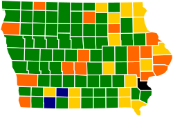 Iowa Republican Presidential Caucuses Election Results by County, 2012.svg