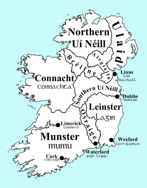 Amlaíb Conung - Ireland circa 900; the Viking settlements of Linns, Dublin, Wexford, Waterford, Cork and Limerick are marked