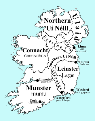 Provinces of Ireland - Map of Ireland's over-kingdoms circa 900 AD.