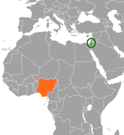 Map indicating locations of Israel and Nigeria