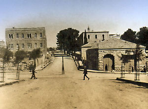 Downtown Triangle (Jerusalem) - Intersection of King George Street (foreground), Straus Street (background), and Jaffa Road (right and left), 1924.