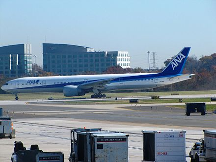 All Nippon Airways Boeing 777-300 taxiing - Washington Dulles International Airport