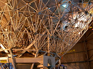James Clerk Maxwell Telescope - The primary mirror seen from behind, showing the construction from many panels