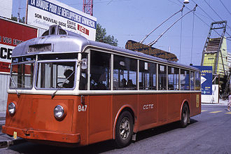 Trolleybuses in Geneva - Rigid FBW 51 type vehicle no 847, photographed in 1971.